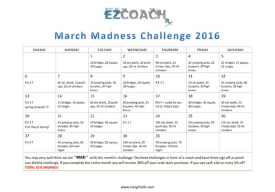 March Madness Challenge - Fitness Challenge with Integrity Health Coaching Centers in NH!