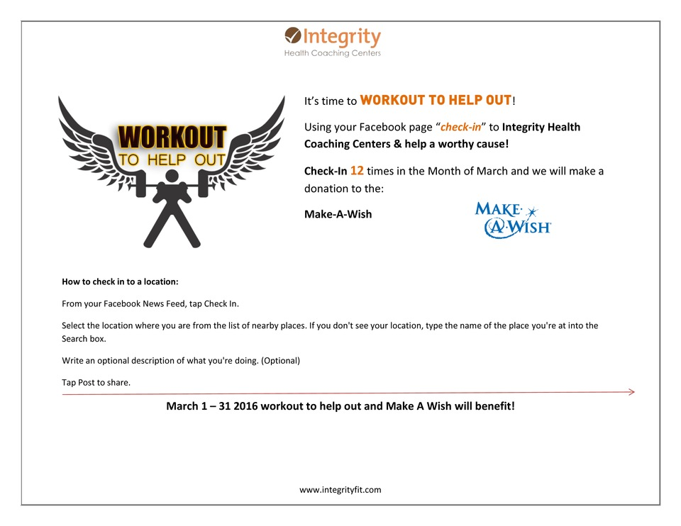 It's time for another WORKOUT TO HELP OUT! The Month of March - Make-A-Wish!