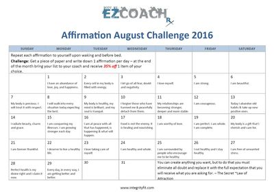 Affirmation August Challenge with Integrity Health Coaching Centers and Gyms in NH