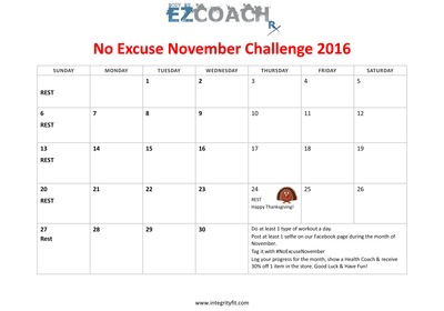 No Excuse November Challenge at Integrity Health Coaching Centers in NH!