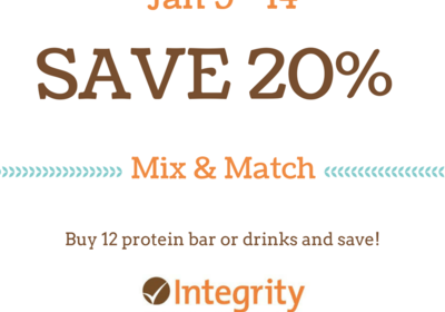 Mix and Match SALE at Integrity Health Coaching Centers - Jan 9 - 14