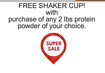 FREE shaker cup with purchase of a 2 pound protein power - $10 value