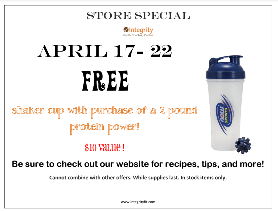 Store Special - April 17 - 22 at Integrity Health Coaching Centers in NH!