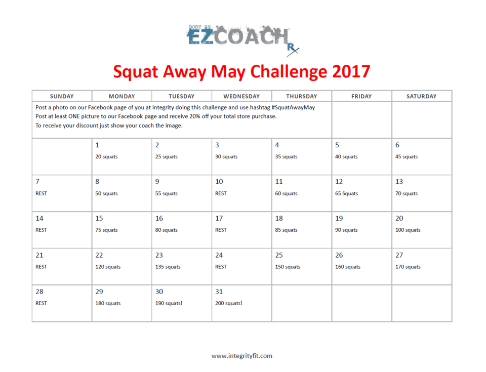 Squat Away May 2017 Challenge!!
