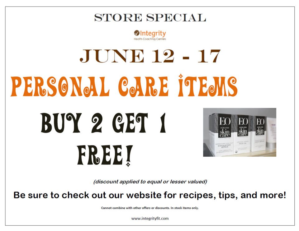 Store Special June 12-17 at Integrity Health Coaching Centers in NH