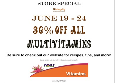 Store Special June 19 - 24 - Integrity Health Coaching Centers in NH!
