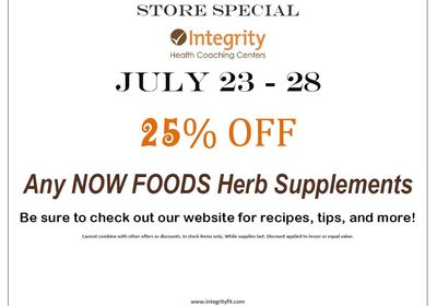 July 23-28 Store Special at Integrity!