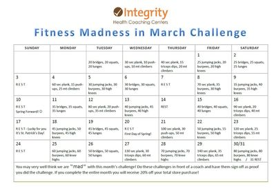 Fitness Madness in March Challenge